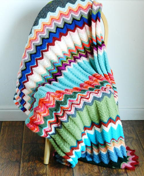 Simple Chevron Blanket Allfreecrochetcom