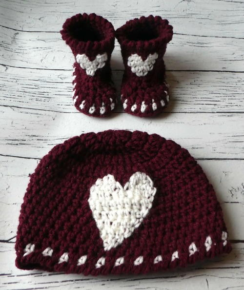 Baby Crochet Heart Hat & Bootie Set