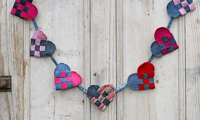 Upcycled Woven Scandi Hearts