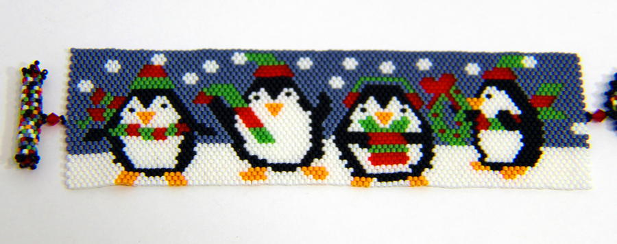 Christmas Penguin Peyote Bracelet