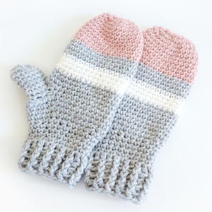 Mixed Stripe Mittens Crochet Pattern