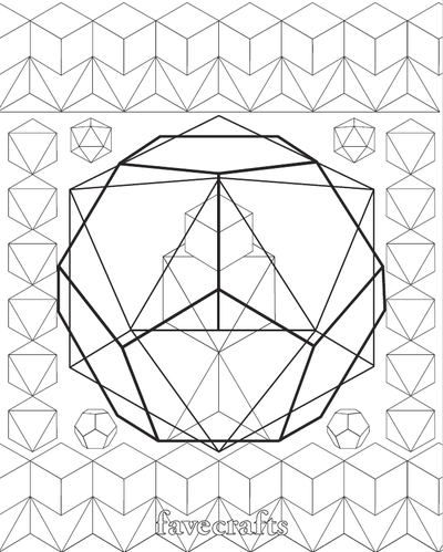 The Platonic Solids Geometric Coloring Page