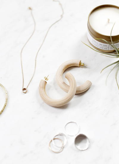 DIY Wooden Hoop Earrings