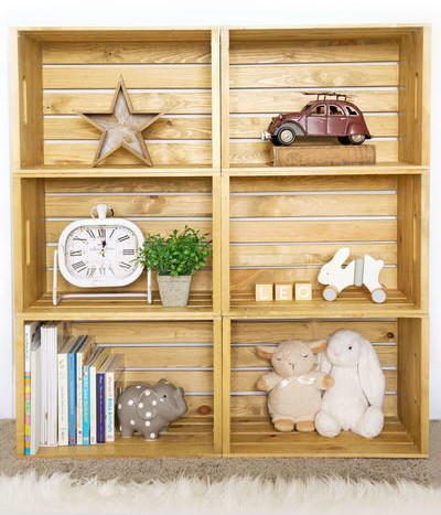 DIY Wooden Crate Shelves