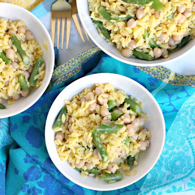 Lemon Orzo with Asparagus and Chickpeas