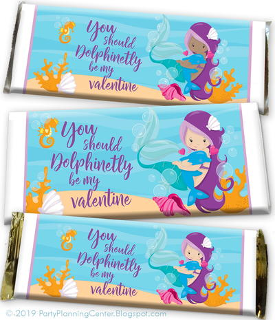 Valentine Printable Mermaid Candy Wrappers