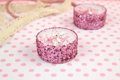 Low Budget Glitter Tea Light Candles for Valentines Day