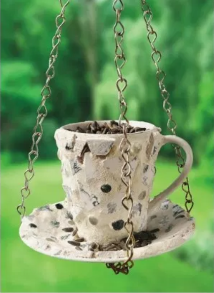Recycled Mosaic Tea Cup Bird Feeder