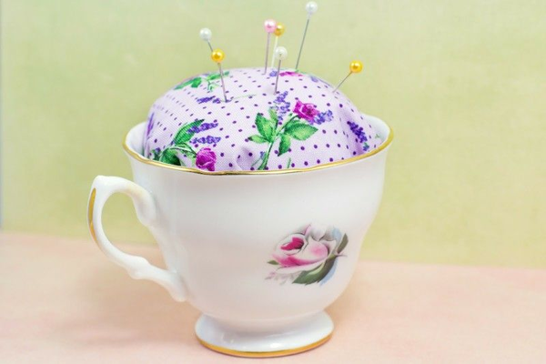 No Sew Tea Cup Pin Cushion