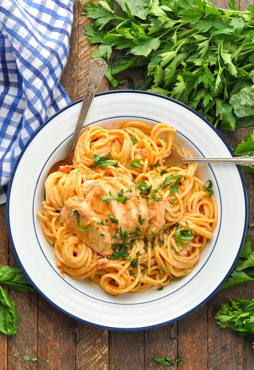 Slow Cooker Italian Chicken Spaghetti