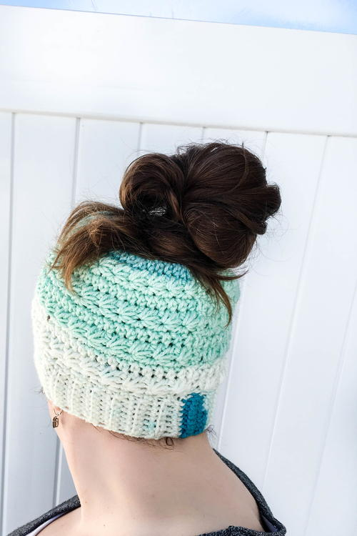 Snow Drops Messy Bun Hat