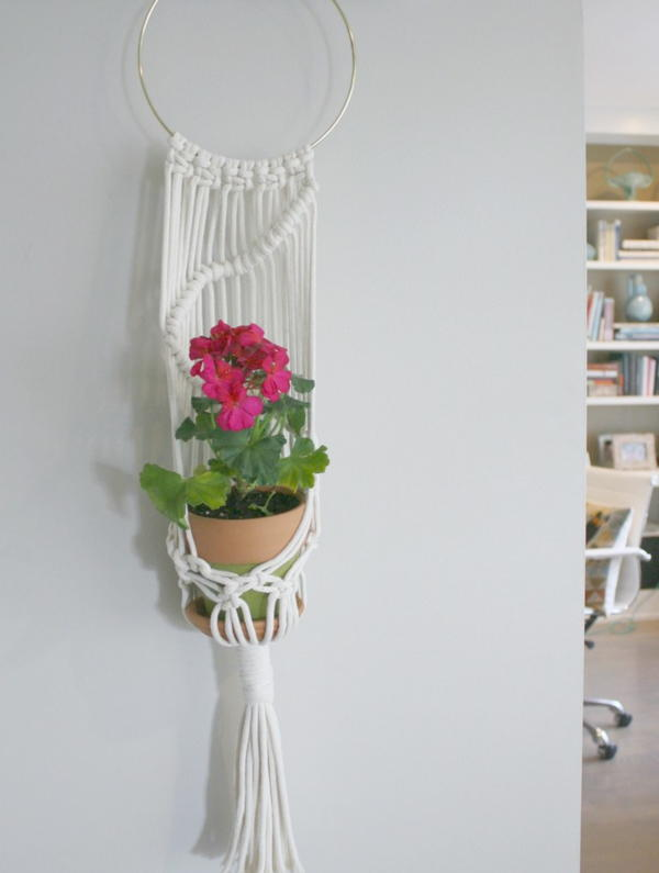 Macrame and Terra Cotta Planter