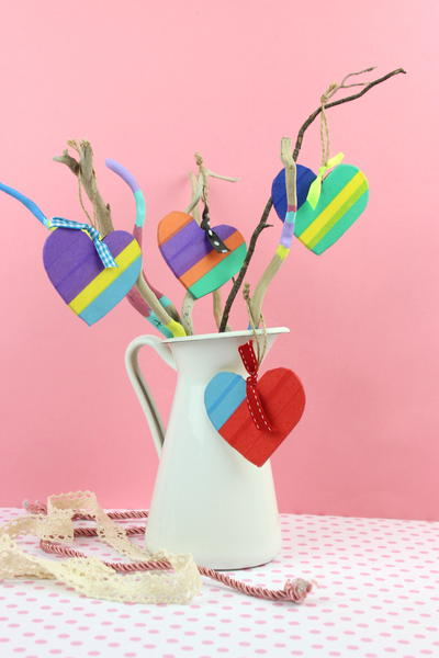 Colored Wooden Decorative Hearts