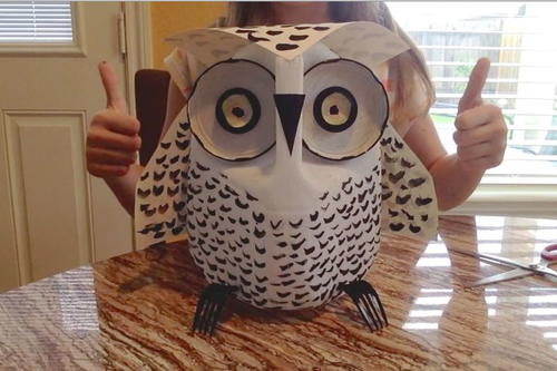 Snowy Owl Milk Jug Craft