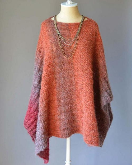 Banked Coals Knit Poncho Pattern