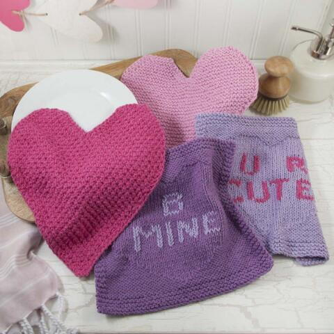V-Day Knit Dishcloths