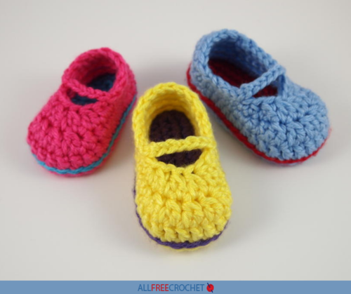Sweet Crochet Mary Jane Baby Shoes