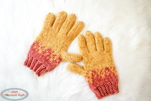 Knit-Like Gloves with Flying Hearts