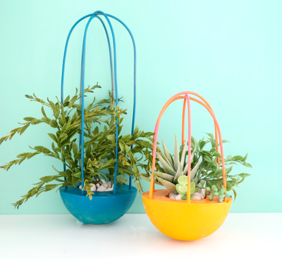 DIY Modern Caged Planters