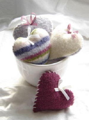 Knit and Felt Hearts
