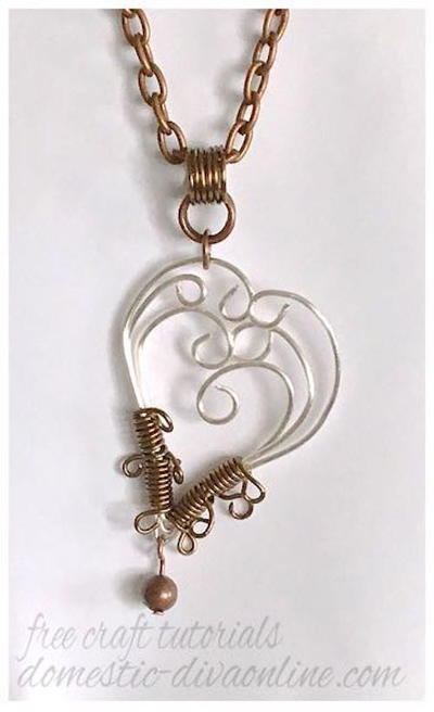 Lopsided Wire Heart Pendant