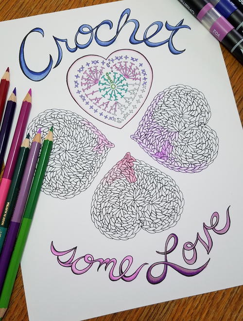 Crochet Some Love Heart Coloring Page
