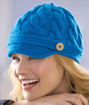 Cable Newsboy Hat Knitting Pattern