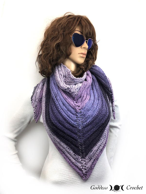 Purple Mountain Ridge Triangle Shawl