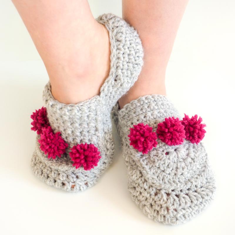 Mini Pom Pom Slippers Crochet Pattern