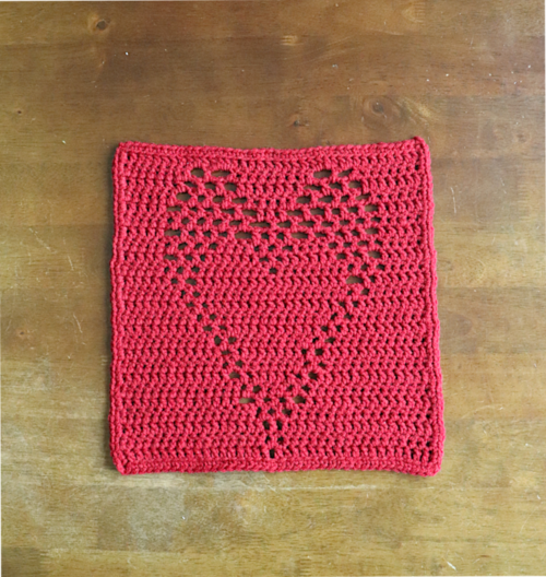 Filet Double Crochet Heart Block
