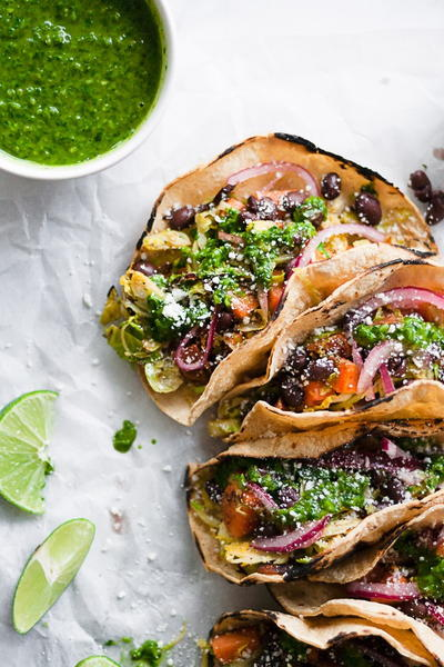Charred Sweet Potato and Brussels Sprout Tacos