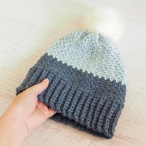 Moss Stitch Beanie Crochet Hat Pattern  785bd579c8d