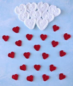 Rain of Hearts Crochet Applique Pattern