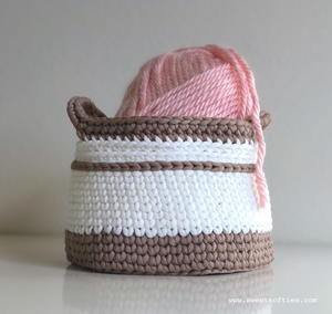 Textured Crochet Basket with Handles