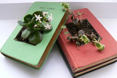 Vintage Books DIY Planter