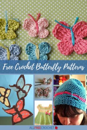 Crochet Butterfly Butterfly Ornaments Butterfly Magnets Butterfly Pins Set of 2