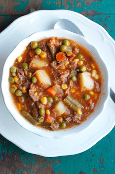 Moms Old-Fashioned Beef and Veggie Soup