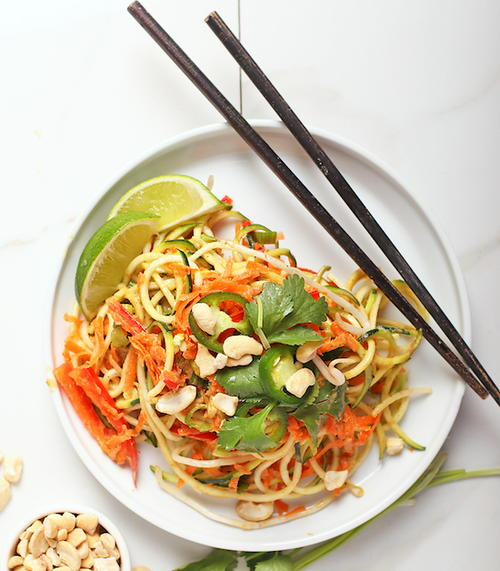 raw pad thai with spicy peanut sauce  favehealthyrecipes