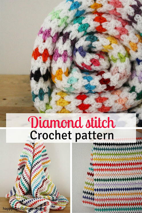 Image shows the Diamond Stitch Crochet Blanket Pattern from Happy in Red.