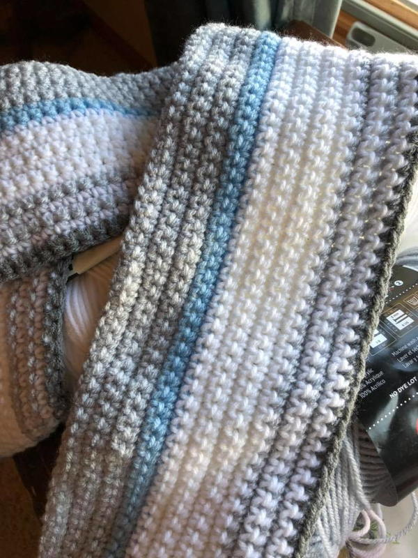 Image shows the Blue and Grey Temperature Blanket.