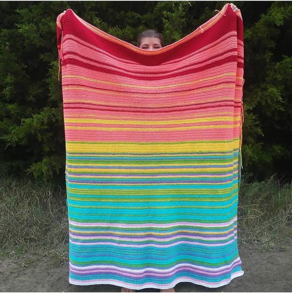 Image shows the Crochet Temperature Blanket from Okie Girl Bling'n'Things.