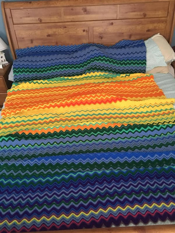 Image shows the Single Crochet Ripple Stitch Temperature Blanket.