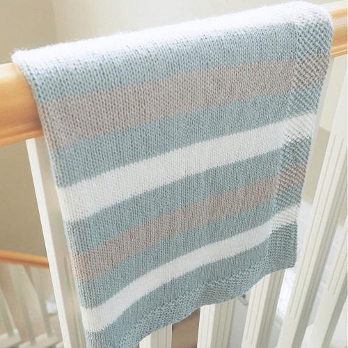 Easy Striped Baby Blanket Knitting Pattern