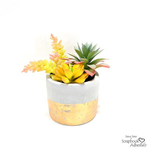 DIY Faux Gold Leaf Succulent Planter