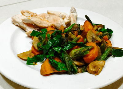 Sweet Potatoes with Mushrooms Green Beans and Green Leaves