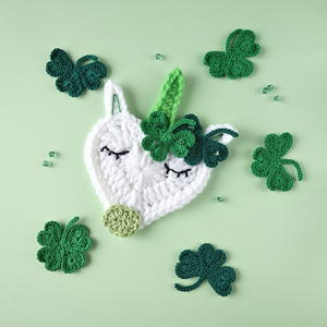 St. Patrick's Day Crochet Unicorn Applique