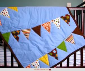 Baby Quilt Patterns.Brilliant Bunting Easy Baby Quilt Tutorial Allfreesewing Com