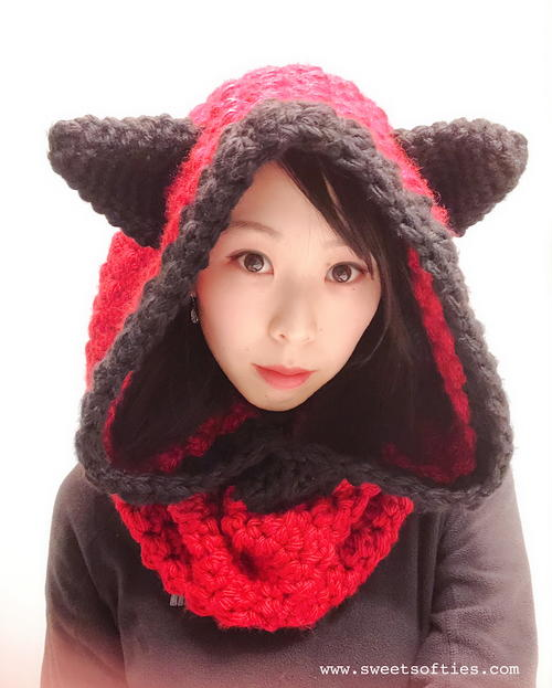 Hooded Fox Cowl, Woodland Animal Hood and Scarf