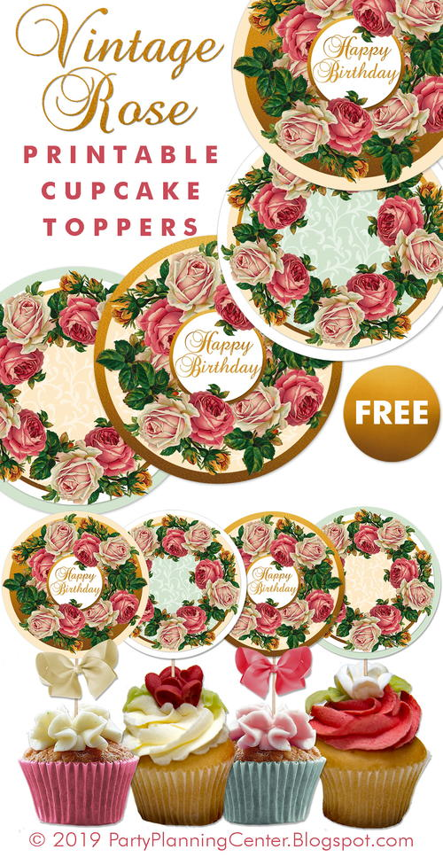 Vintage Rose Cupcake Toppers