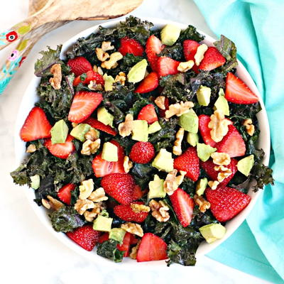 Strawberry Avocado Kale Salad